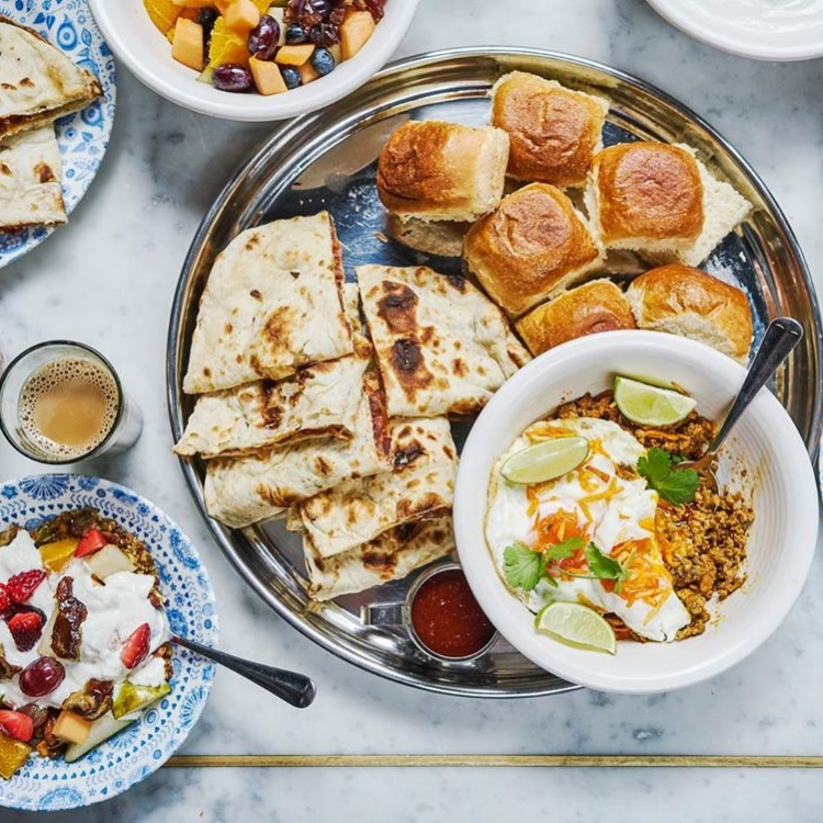 Food and drink at The Yards – Dishoom breakfast feast
