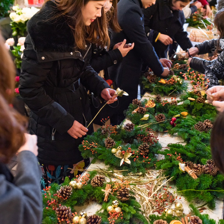 wreath making at The Yards – Christmas Covent Garden