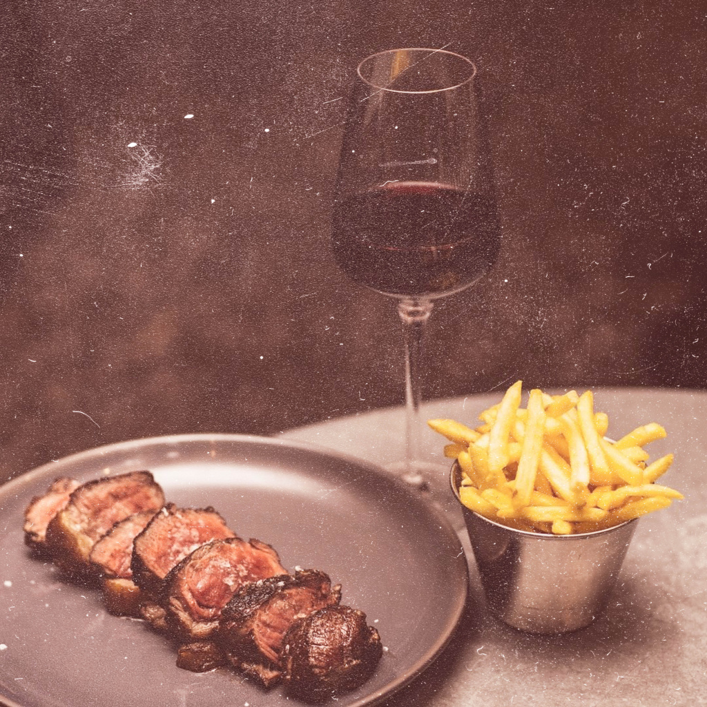 temper steak, frites and red wine for date night in