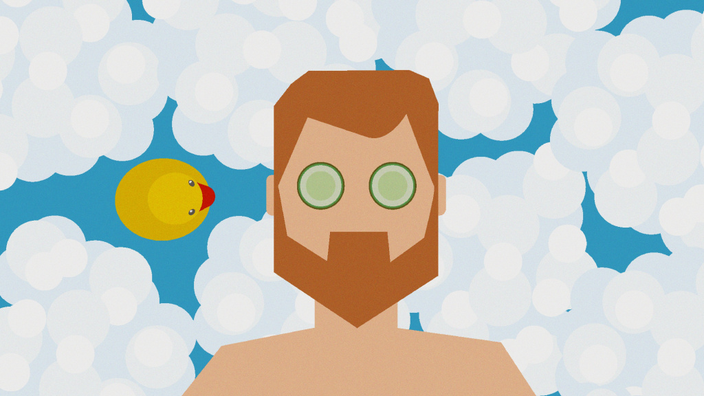 At-Home Wellness – Man in bubble bath with rubber duck