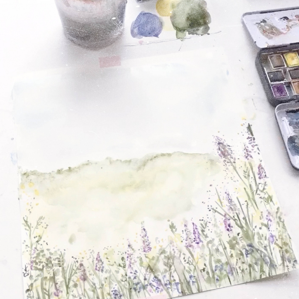 watercolour meadow scene – creativity at home