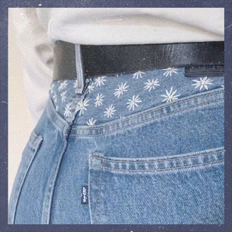 daisy embroidery on Levi's