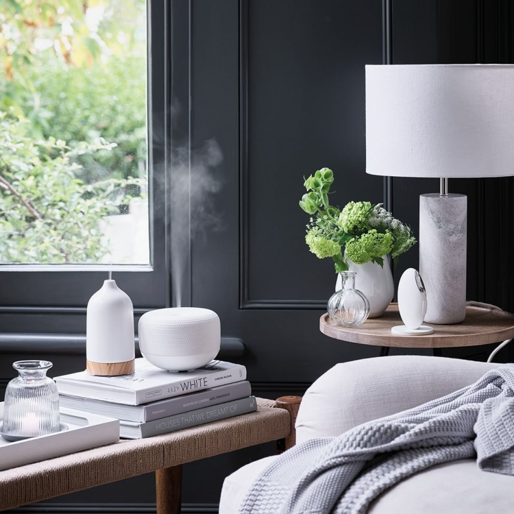 the white company diffuser by bedside