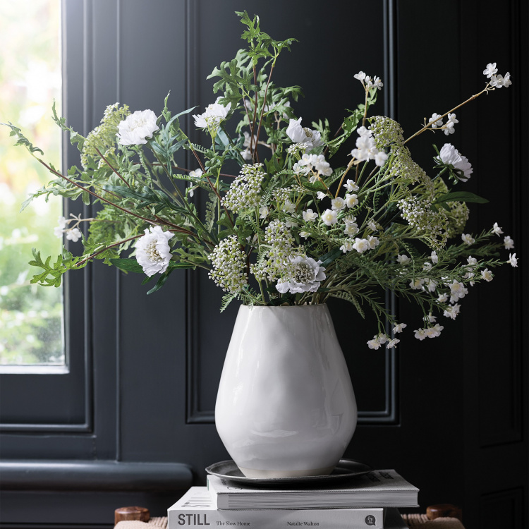 bunch of faux white wildflowers white company