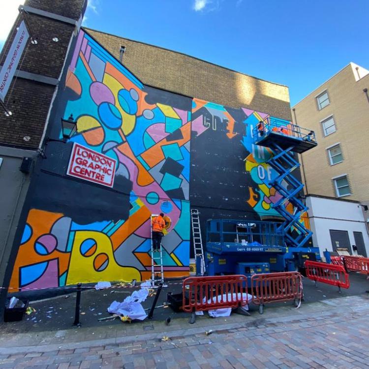 in progress mural