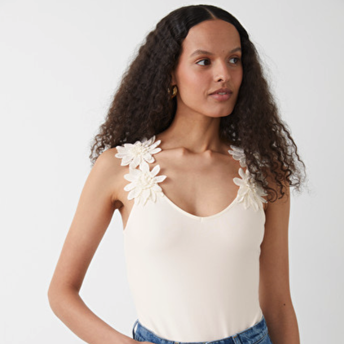 White Sleeveless Bodysuit & Other Stories with floral shoulder details