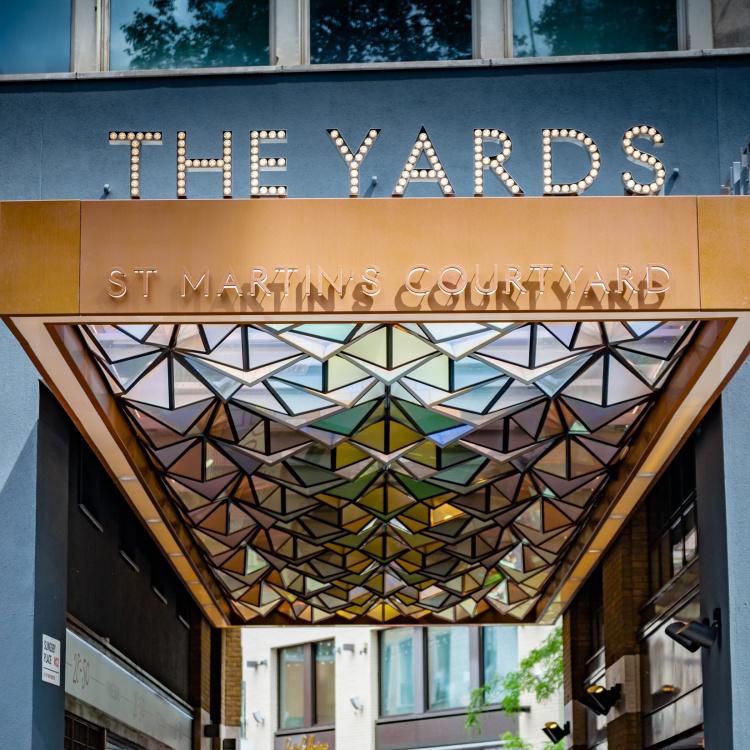 The Yards entrance lit up